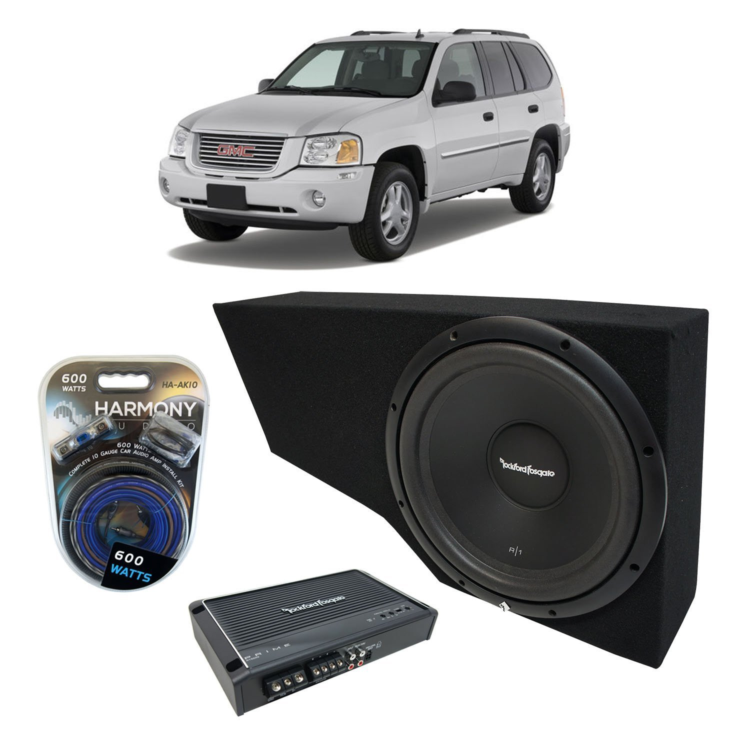 "2002-2009 GMC Envoy SUV Rockford Prime R1S412 Single 12"" Custom Sub Box Enclosure & R150X2 Amp"