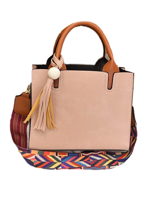 ORUBAG Women Tassels Satchel Tote Messenger Leather Purse Shoulder Bag Handbag Satchel