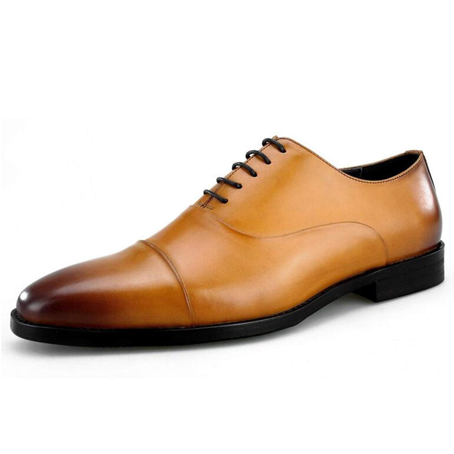 JUNBOSI Three-Joint Men's Shoes - High-end Men's Leather Shoes - Lace up Formal Business Shoes. Four Seasons Size 6-12 (Color : Brown, Size : 42)
