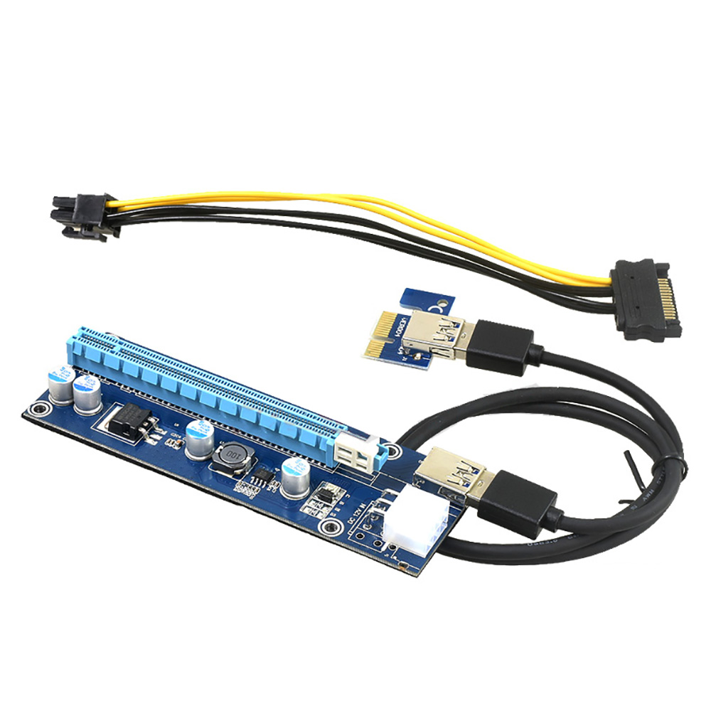 2017 express pci e x16 riser card 1x to 16x power riser adapter 3.0 extension cable 6pin usb riser MOLEX to sata power cable