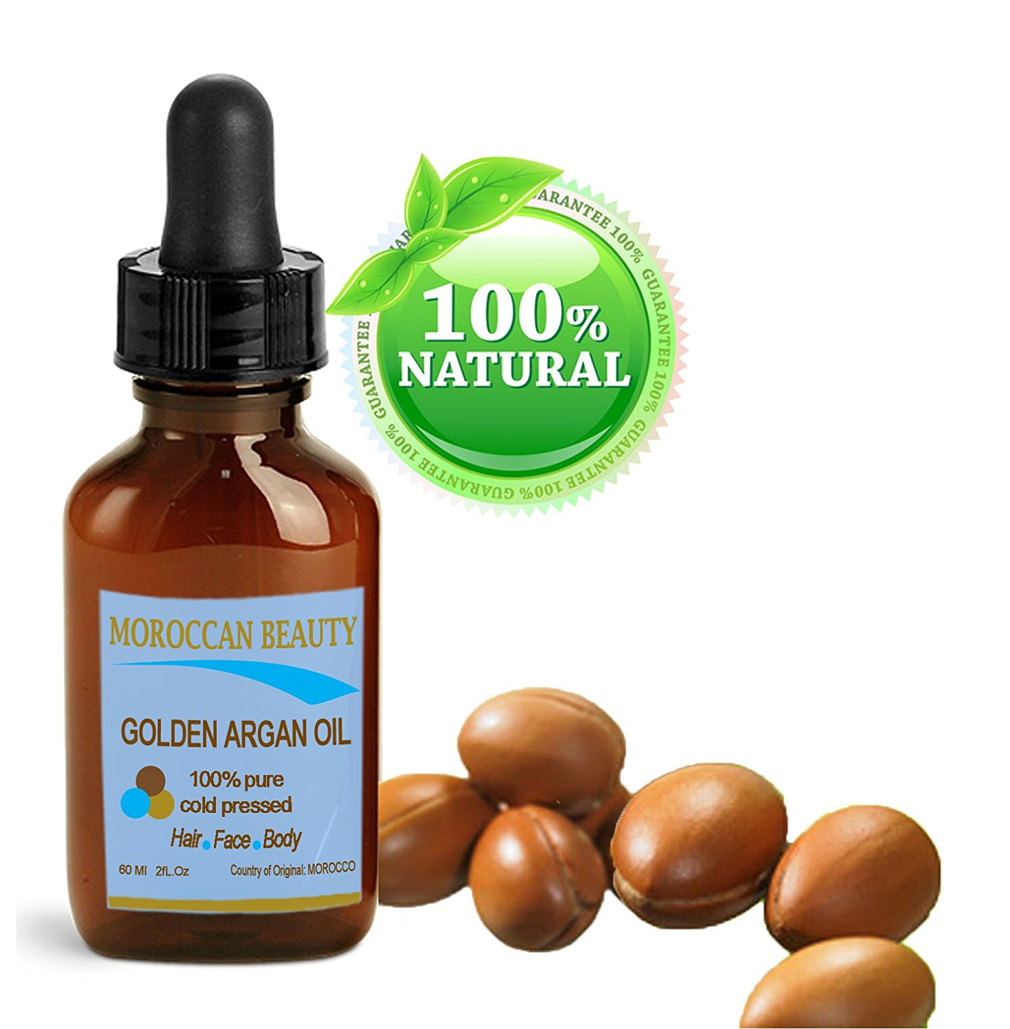 Moroccan Beauty Golden Argan Oil, 100% Pure/ Natural. For Face, Hair and Body. 1oz-30ml