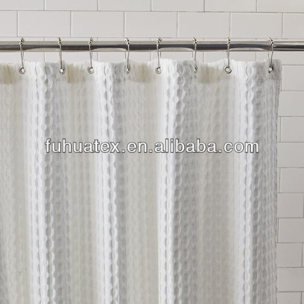 Polyester White Waffle Fabric For Shower Curtain