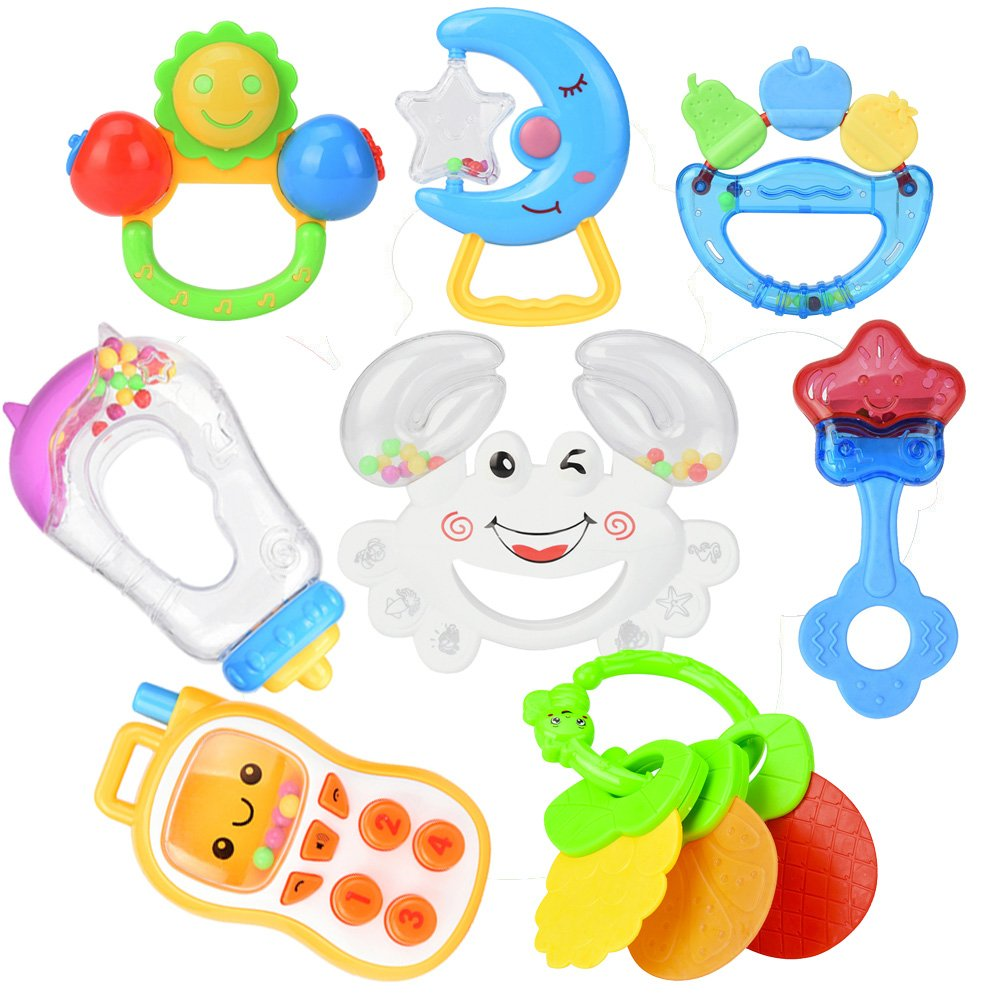 8pcs Cute Baby Rattle Toys Set Toddler Nursery Hand Bell Gift For Newborn Baby Rattles Toys & Hobbies Baby & Toddler Toys
