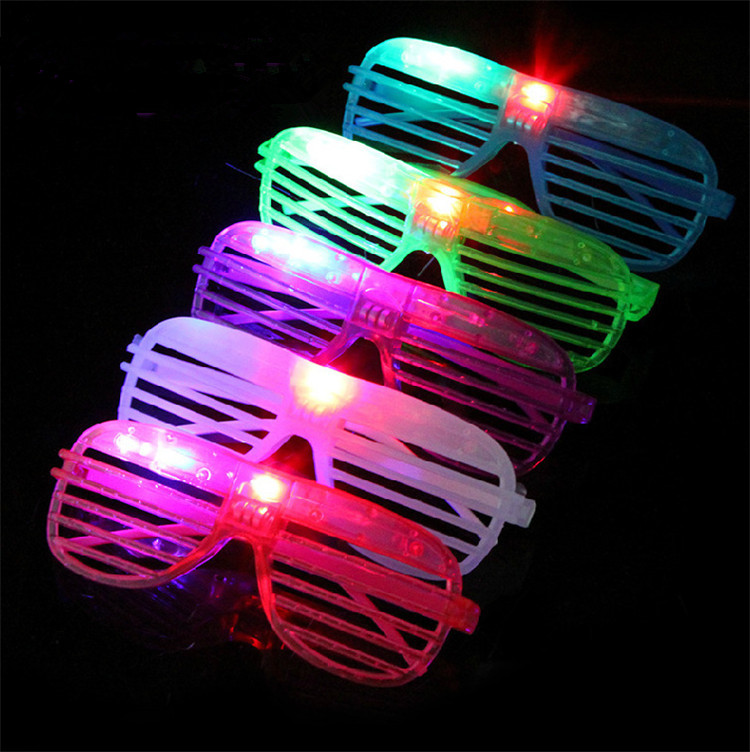 Customized party cheap led light flashing color blind shutter sunglasses