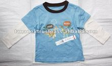 Children's clothing cute long t-shirt splitter 2 plain colours100% cotton for boys 2012