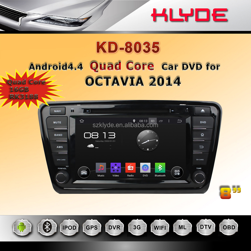 Accessories for quad core Ram 1gb 8 inch OCTAVIA 2014 car multimedia dvd gps navigation support bluetooth 1080P video radio RDS