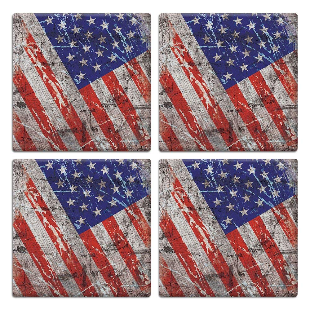 CARIBOU SQUARE Ceramic Stone Coasters 4pcs Set, Mug Coffee Cup Place Mat Home Coasters for Hot & Cold Drinks, Wood Vintage American USA Flag