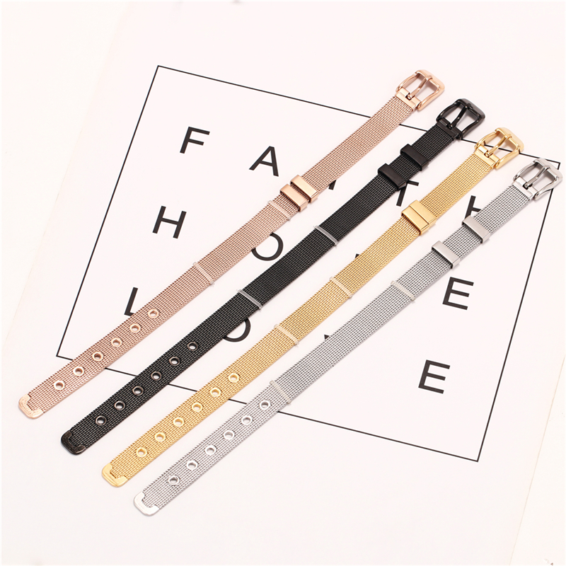 fashion gold plated stainless steel handmade leather charms custom watch mesh bracelets and bangles women men jewelry