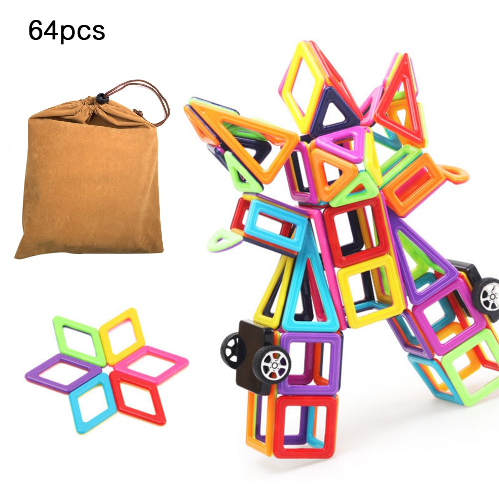 iDeep Magnetic Blocks, 64pcs Magnetic Blocks Building Set Toys for Girls Boys Magnetic Tiles Set Educational Building Construction Toys for Toddler Kids with Carry Bag