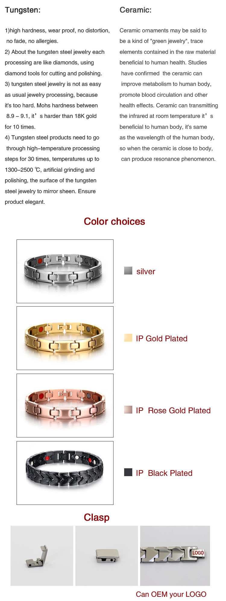 Fashion germanium products classic style silver bracelet pure germanium chip titanium bracelet