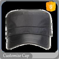 Unisex Gender Plain Black Leather Vintage Military Hat Metal Strapback Blank Cap Custom