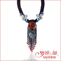 Chinese Style Enamel Silver Phoenix Jade Pendant/ Braided Rope Necklace