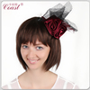 fashion cheap red wine color mini top hat with feather and clip