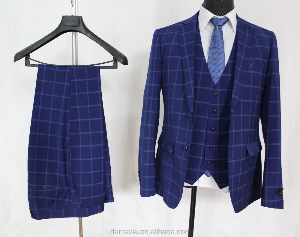 Plaid New Pant Coat Design Photo 2018 Man Suit Three Piece Suits For