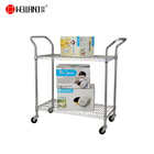 Multi-function Heavy Duty Chrome Metal Wire Utility Cart 2 Tier Shelf Trolley With NSF Approval