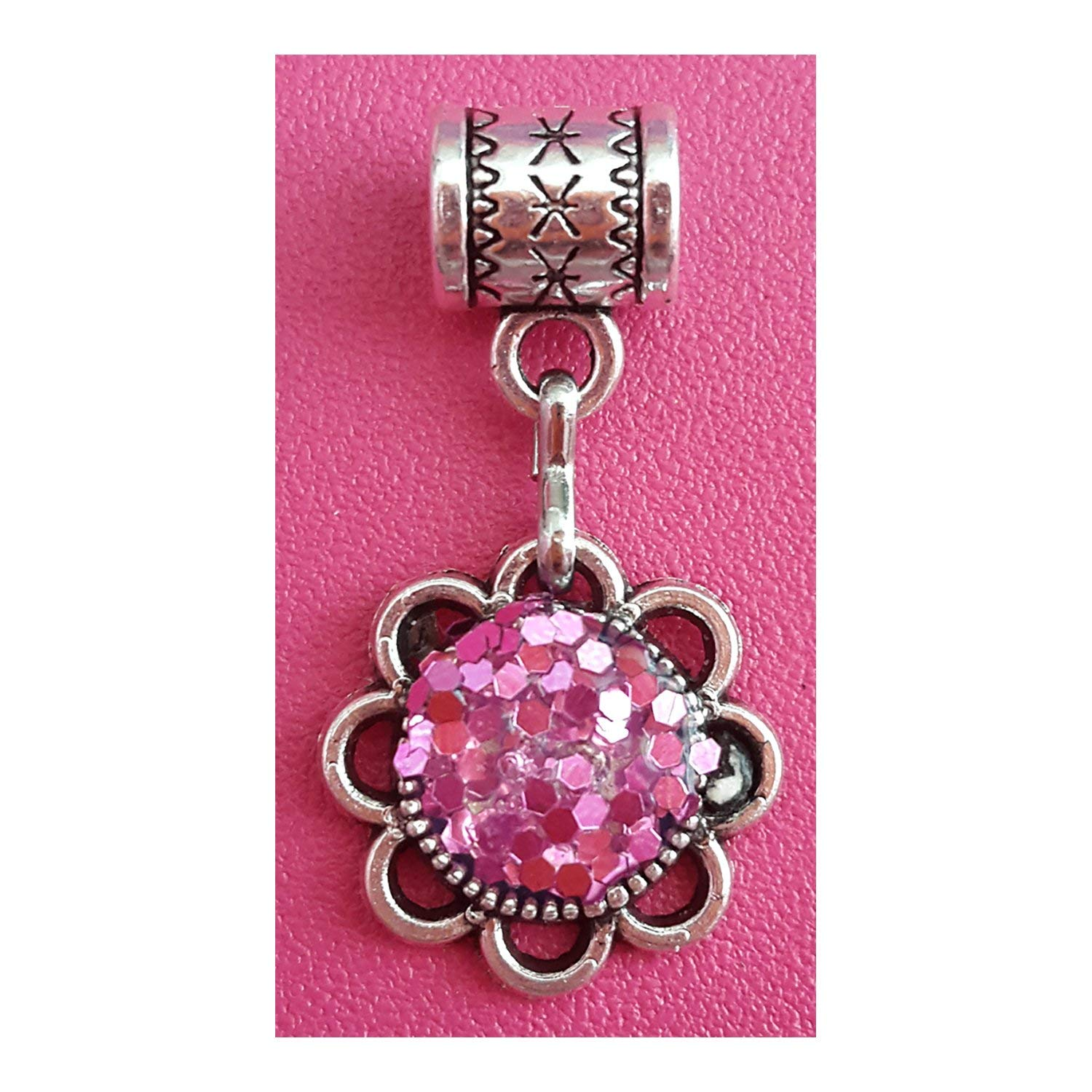 """""""Pink glitter charm"""" Tibetan Silver Hanging charm or October birthstone charm by Mossy Cabin for large hole snake chain charm bracelet, or add to a neck chain, pendant necklace or key chain"""