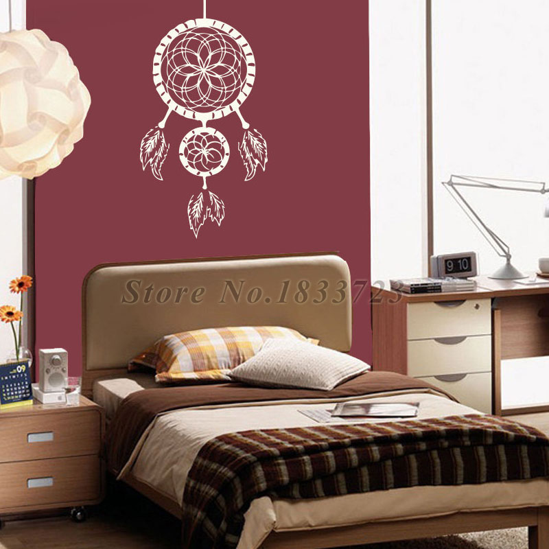 Bedroom Wall Stickers Indian Dream Catcher Feathers  Vinyl Adhesive Home Decor Wall Decals