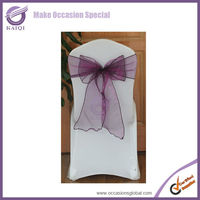 BS012 ultra plum color lycra sheer organza chair cover sashes bow for wedding decoration