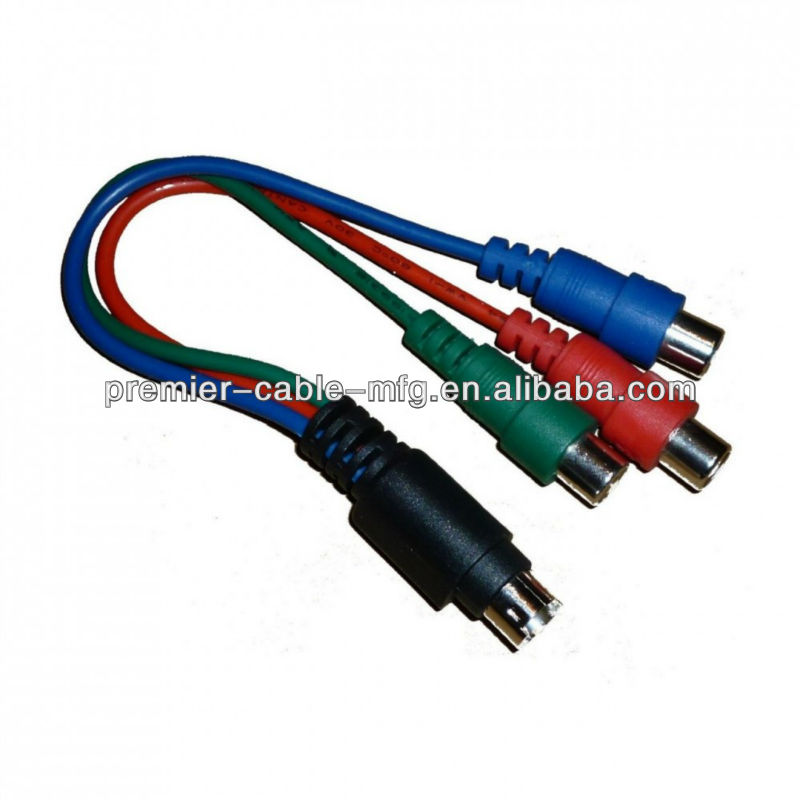 S Video 7 Pin To Component RGB Cable Adapter YPbPr