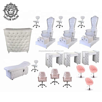 Pink colored nails salon furniture package manicure table pedicure spa chair for sale