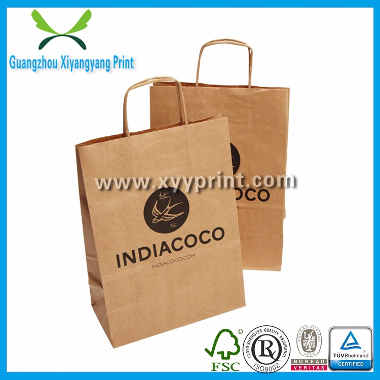 Excellent quality plastic coated kraft paper bag for coffee, fast food takeaway kraft paper bag wholesale