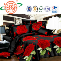 Red 3D pink brown flower Rose Cotton queen size Bed Duvet Quilt Cover Sets sheet