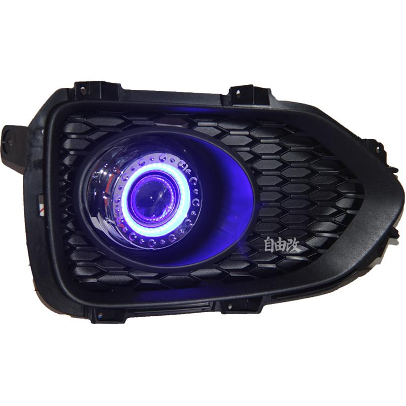 Из светодиодов DRL дневного света COB глаза ангела, Объектив проектора противотуманная фара с крышкой для Kia sorento 2009 - 12, 2 шт.