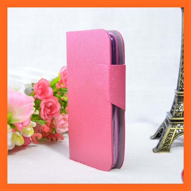 2014 Pink With Card Slots PU Flip Leather Case For Mobistel Cynus F3