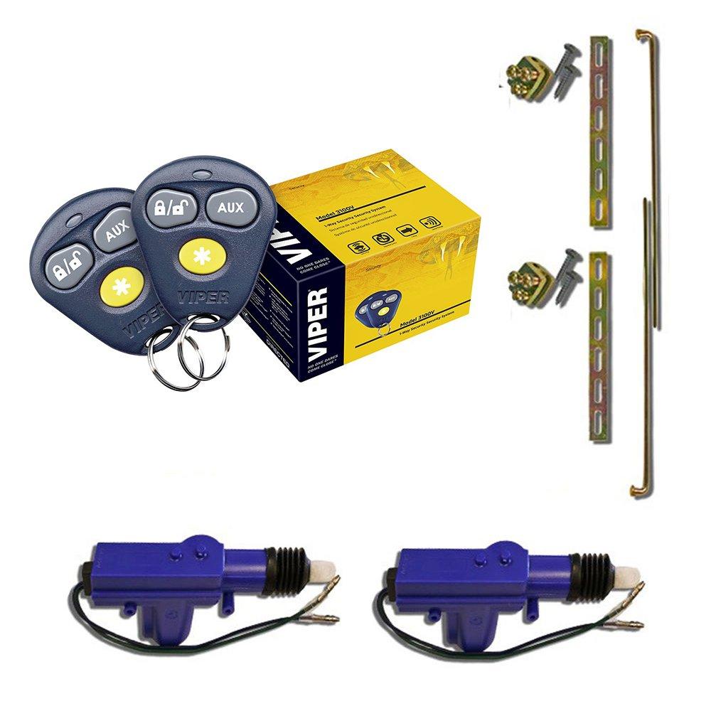 Viper 3100V 1-Way Keyless Entry Car Alarm Security System + (2) Heavy Duty Universal 12 Volt 360 Degree Power Motor Door Lock Actuator
