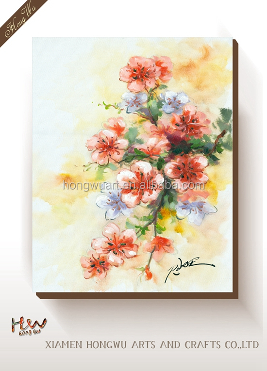 Unique Style Red Pear Flower Art Oil Painting Wall Decor