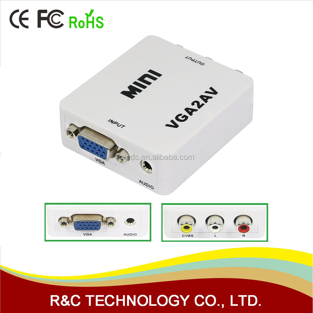 1080P Mini VGA to AV RCA Converter with 3.5mm Audio VGA2AV/CVBS+Audio Convertor for HDTV PC