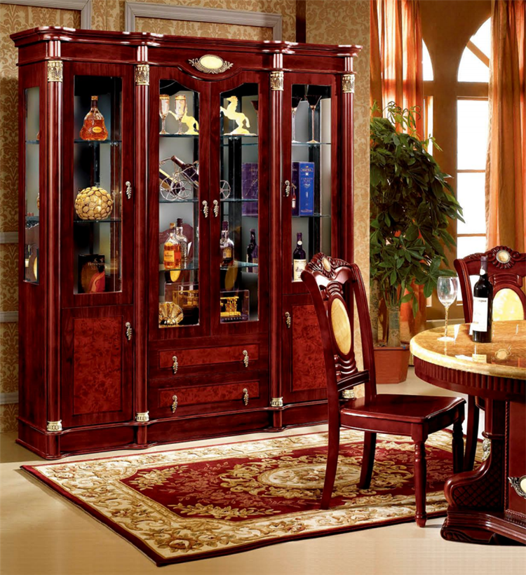 Modern Design Living Room Wooden Wine Storage Glass Door ...