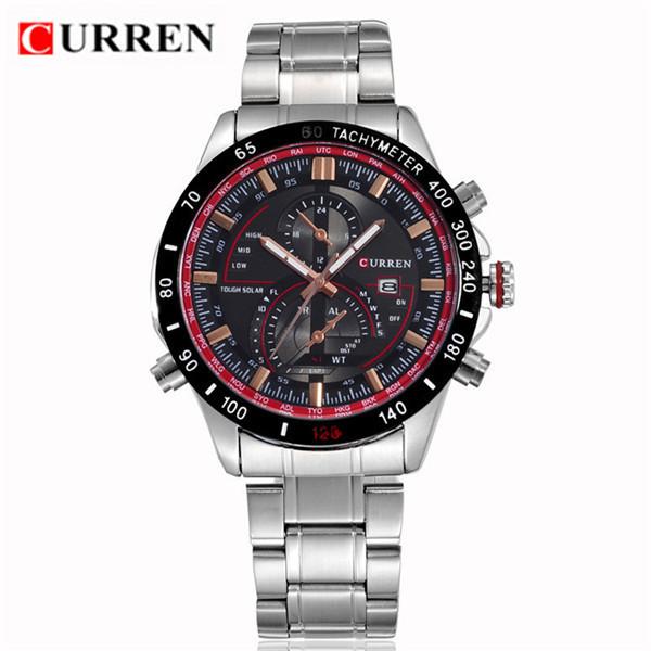Curren армия мода спортивные часы мужские люксовый бренд автоматический календарь высококачественной нержавеющей стали кварцевые часы