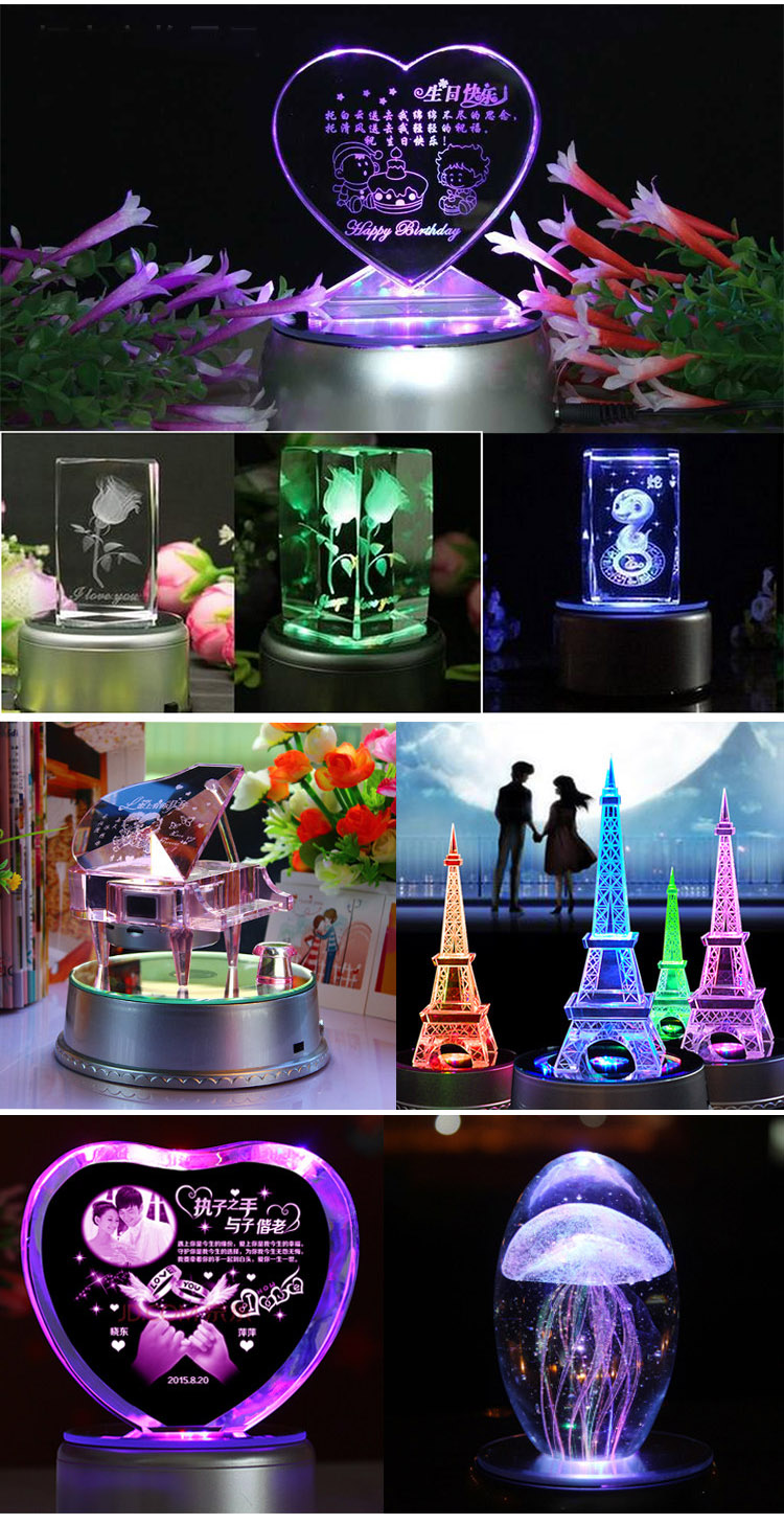 New design Multi-Color 3.5 inch LED colorful rotating Base for 3D Crystal Ball Cube Crafts