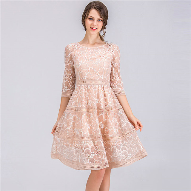 2018 summer new European and American short-sleeved dress fashion lace skirt