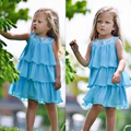 Princess Kids Baby Girls Triple Tiered Chiffon Flirty Sequins Decor Party Sleeveless Flower Solid Casual Cake