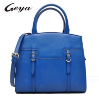GUODI wholesalers high quality fashion ladies leather handbag Blue Real leather Tote bag for Shopping use