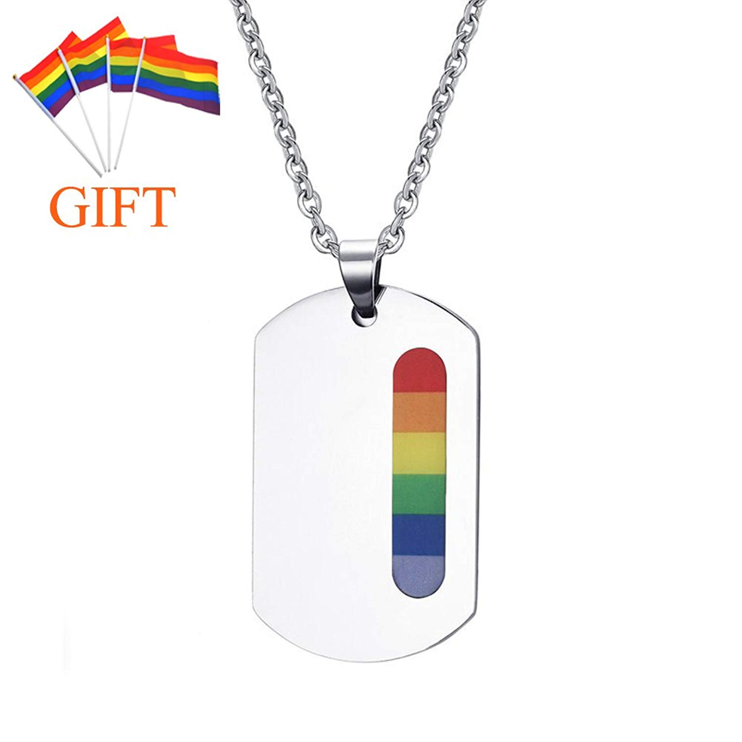 LF Personalized Stainless Steel Gay Pride Necklace Rainbow Pride LGBT Lesbian Gay Inspirational Friendship Dog Tag with Gay Pride Flag Gift for Marriage Engagement IDAHO,Free Engraving Customize