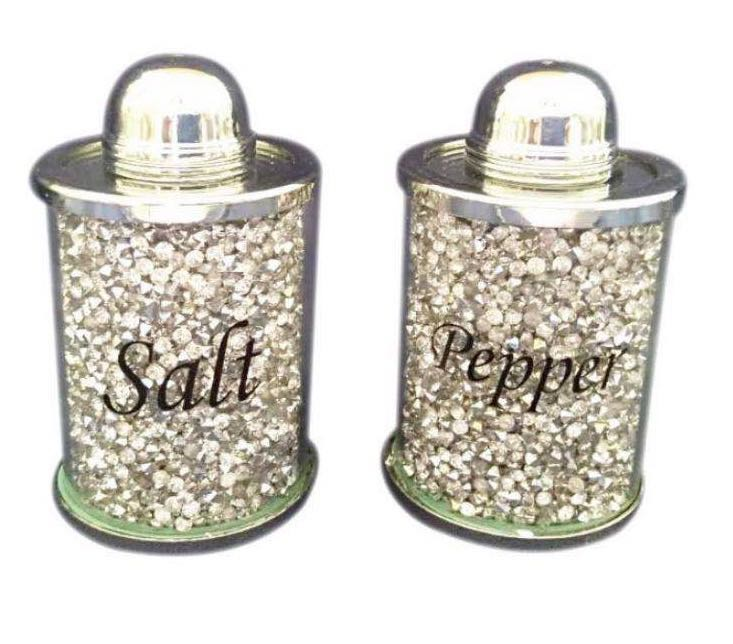 CRYSTAL GLASS SALT AND PEPPER JAR STORAGE CANISTER WITH CRUSHED DIAMOND