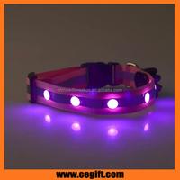 Fashion design gem lamp led pet collar with cartoon box, 3 flashing mode