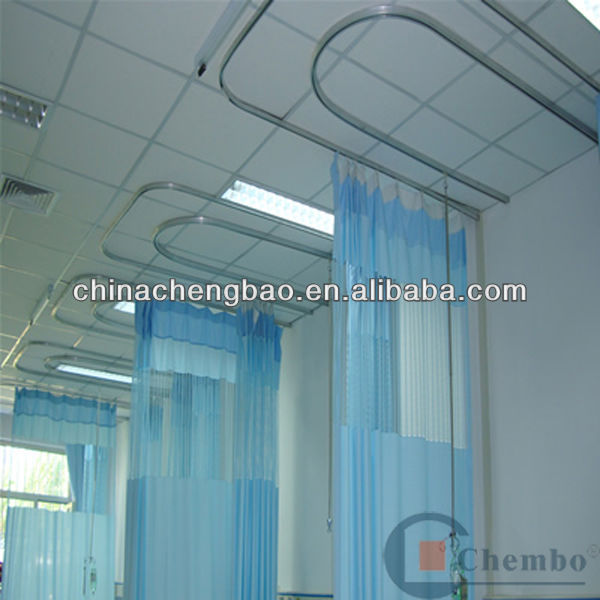 fire retardant blackout hospital curtain accessories fabric with curved track