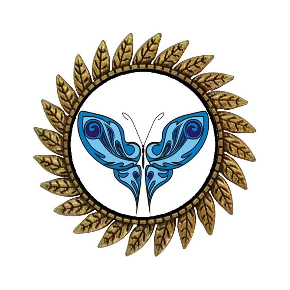 GiftJewelryShop Ancient Style Gold-plated Shades Of Blue Butterfly Hot Style Gear Round Pin Brooch