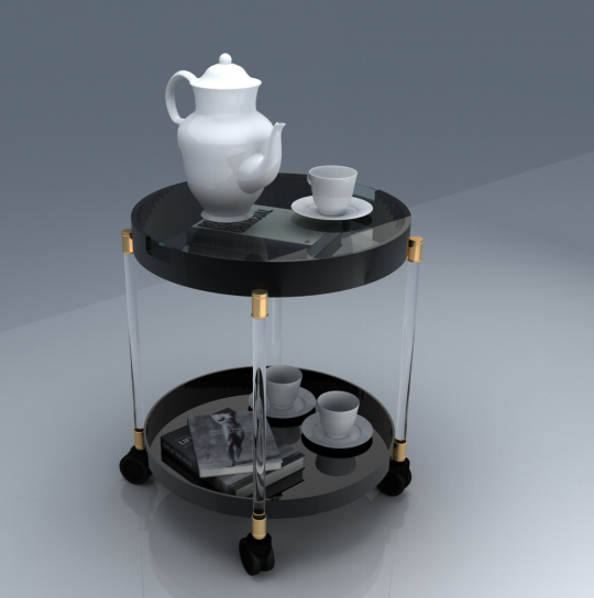 modern style black color round shape double tiered acrylic coffee table
