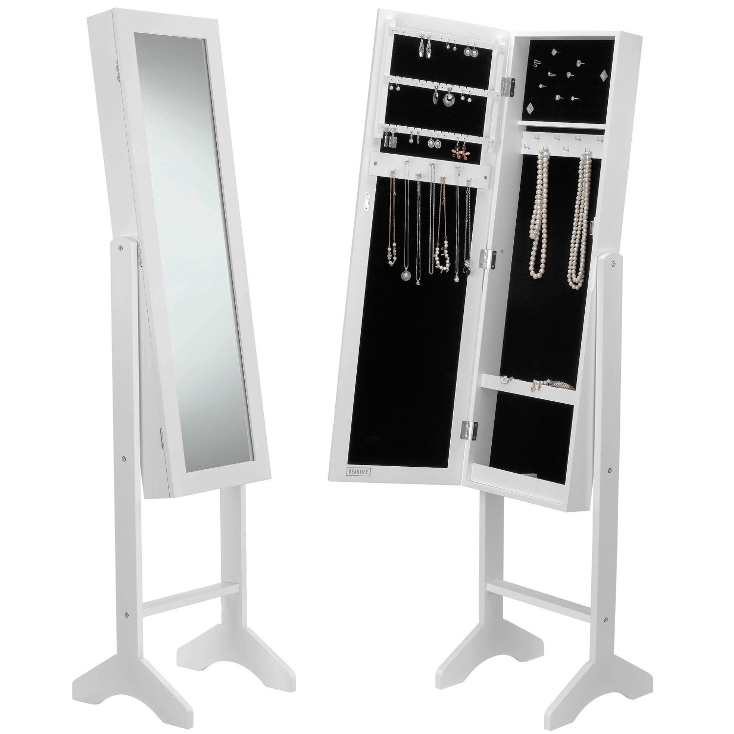 cabinet armoire mirrored necklaces white mirror rings jewelry w itm bracelets stand