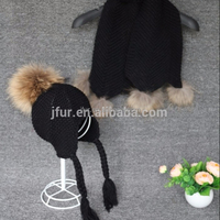 Hot Sale Unique Knitted Long Winter Scarf With Real Raccoon Fur Pompoms