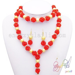 Wholesale plastic faceted beads jewelry set fashion weeding dress jewelry
