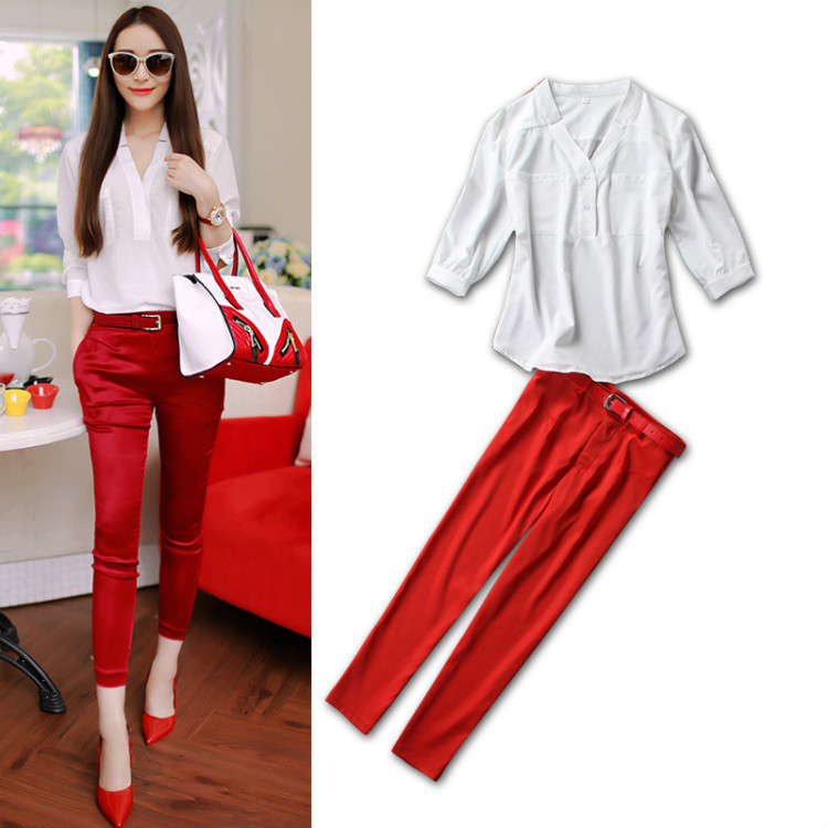 7fd74fc4b9 Get Quotations · 2015 Spring Summer 3 4 Sleeve Elegant V-Neck White Tops+  Fashion Red Pants Beautiful