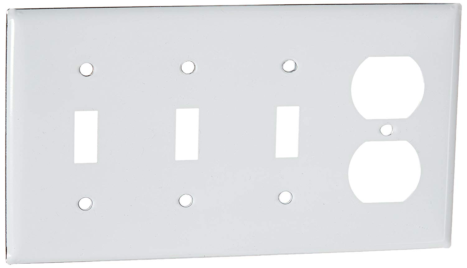 """Hubbell Wiring Systems SS38 302/304 Stainless Steel Combination Wall Plate, 4 Gang, 3 Toggle, 1 Duplex, 8-7/32"""" Width x 4-1/2"""" Height x 1/32"""" Thick"""