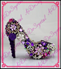 Aidocrystal women pumps 2016 latest ladies' high heel shoes purple flowers crystal wedding shoes for bride made in china