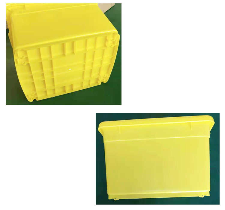 FDA Approved Plastic 90Liter Medical Storage Container, Yellow Turnover Box For Hospital Use/